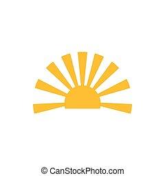 simple, luz, vector, horizonte, sol, logotipo