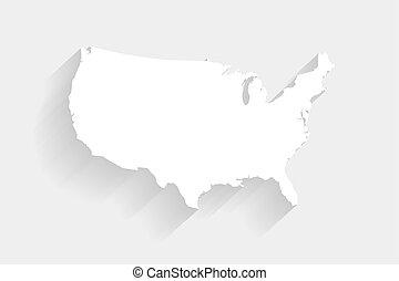 Simple mapa blanco de los Estados Unidos en el fondo gris, vector, ilustración, eps 10 archivo