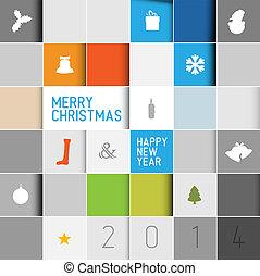 simple, moderno, vector, minimalistic, tarjeta de navidad