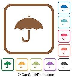 simple, paraguas, iconos