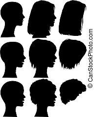 Simple silueta, la gente pinta rostros