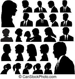 Simple silueta retratos de la gente