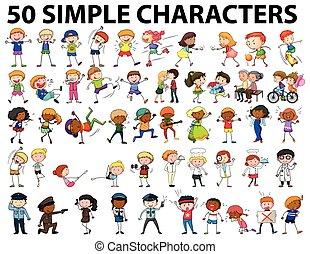 simple, viejo, joven, caracteres, cincuenta