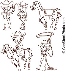 Simples bocetos de un vaquero