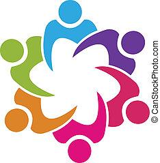 Sindicato de trabajo en equipo 6 personas vector de logo