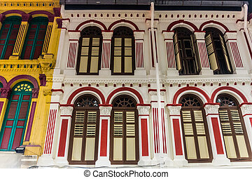 singapo, viejo, casas, chinatown