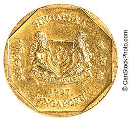 singaporean, moneda, dólar, uno