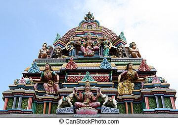 singapur, hindú, sri, -, srinivasa, templo, templo