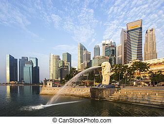 Singapur marca Merlion con el amanecer