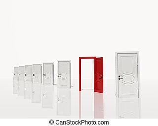 sinigle, puerta, espacio, puertas, blanco, varios, abierto, rojo
