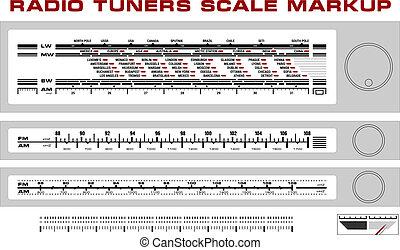 sintonizador, tablero de instrumentos, radio, markup, escala