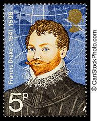 Sir Francis Drake, famoso sello de exploración