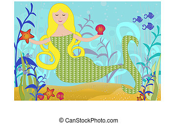 Sirena bajo el mar