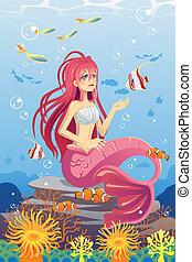 Sirena en el océano