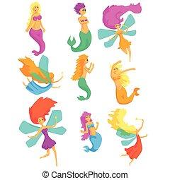 Sirenas y hadas criaturas fantásticas de cuento de hadas con alas y cola de pescado de dibujos animados coloridos