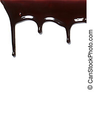 Sirope de chocolate goteando dulces líquidos