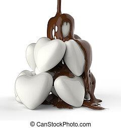 Sirope de chocolate goteando sobre el símbolo del corazón