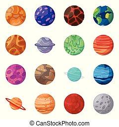 sistema, conjunto, icono, vector, stock., icon., espacio, objeto, planeta, aislado