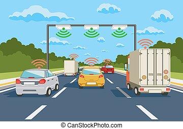 Sistema de comunicación de carretera vectores infográficos