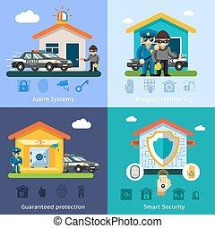 Sistema de seguridad de casa vectores planos conceptos de fondo