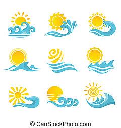 sistema del sol, ondas, iconos