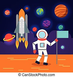 Sistema solar de astronauta plana
