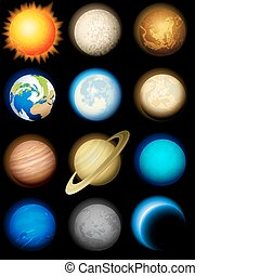 sistema, solar, iconos