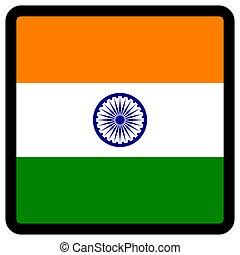 sitio, botón, patriotismo, conmutación, comunicación, contorno, medios, forma, cuadrado, bandera india, idioma, social, contrastar, señal, icon.