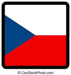 sitio, botón, patriotismo, conmutación, comunicación, contorno, medios, forma, cuadrado, bandera checa, idioma, social, contrastar, señal, icon.