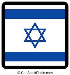 sitio, botón, patriotismo, conmutación, comunicación, contorno, medios, forma, cuadrado, bandera, idioma, israel, social, contrastar, señal, icon.