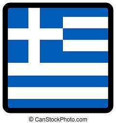 sitio, botón, patriotismo, conmutación, comunicación, contorno, medios, forma, cuadrado, bandera grecia, idioma, social, contrastar, señal, icon.