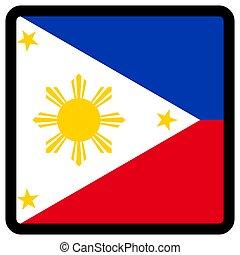 sitio, botón, patriotismo, conmutación, comunicación, contorno, medios, forma, cuadrado, señalador de philippines, idioma, social, contrastar, señal, icon.