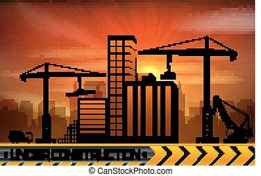 Sitio de construcción con edificios y grúas