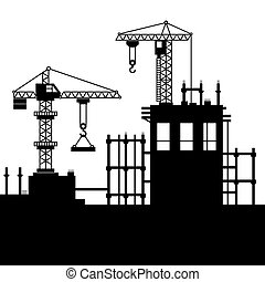 Sitio de construcción con grúas torre. Vector