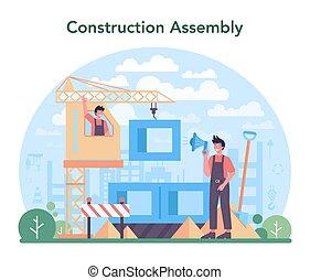 sitio industrial, operador, constructor, concept., grúa, construcción