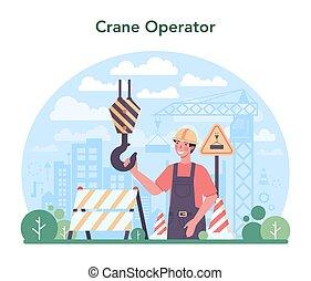 sitio, operador, constructor, concept., grúa, industrial, construcción