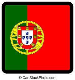 sitio, portugal, botón, patriotismo, conmutación, comunicación, contorno, medios, forma, cuadrado, bandera, idioma, social, contrastar, señal, icon.