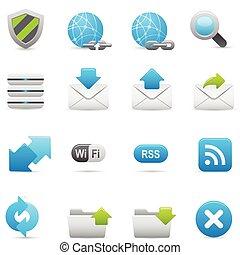 sitio web, añil, y, iconos, s, internet, |