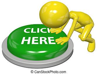 sitio web, botón, aquí, persona, enlace, empujón, clic