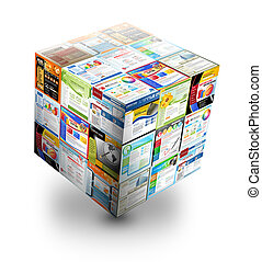 sitio web, caja, blanco, 3d, internet