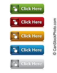 sitio web, conjunto, color, botón, aquí, 5, clic