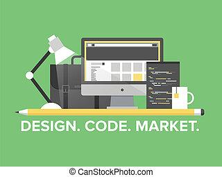 sitio web, dirección, programación, ilustración, plano