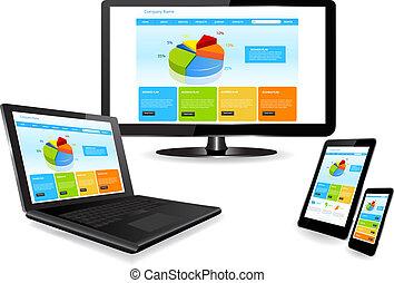 sitio web, dispositivo, múltiplo, plantilla