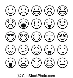 sitio web, elementos, diseño, caras sonrientes