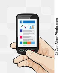 sitio web, móvil, concepto, elegante, teléfono