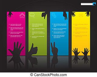 sitio web, símbolos, diseño, plantilla, mano