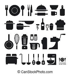 sitio web, ser, utilizado, disposición, iconos, herramienta, /, vector/horizontal, gráfico, lata, infographics, colección, o, cocina