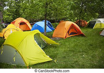 sitios, campamento, tiendas