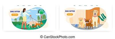 sitter, perritos, diseño, sitio web, ambulante, paseante, perro, página, bandera, parque, vector, aterrizaje, plantilla, hembra, mascota, set., voluntario