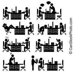 Situación de oficina iconos planos aislados en blanco